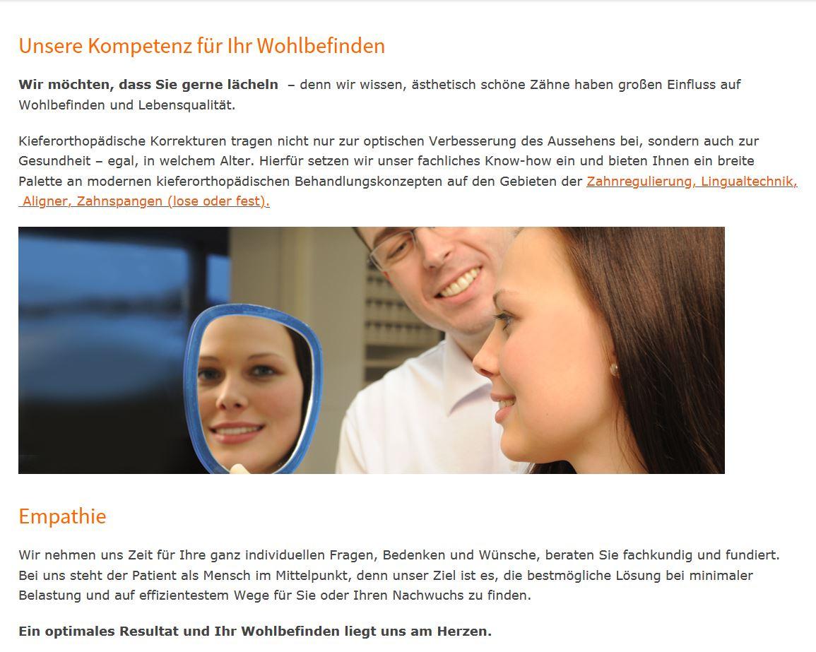 Textbeispiel Homepage Kierorthopädische Praxis